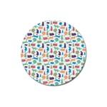 Blue Colorful Cats Silhouettes Pattern Magnet 3  (Round)