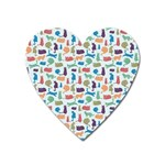 Blue Colorful Cats Silhouettes Pattern Heart Magnet