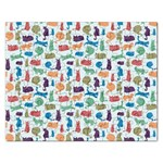 Blue Colorful Cats Silhouettes Pattern Rectangular Jigsaw Puzzl