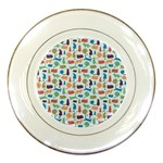 Blue Colorful Cats Silhouettes Pattern Porcelain Plates