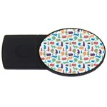 Blue Colorful Cats Silhouettes Pattern USB Flash Drive Oval (4 GB)