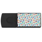 Blue Colorful Cats Silhouettes Pattern USB Flash Drive Rectangular (4 GB)