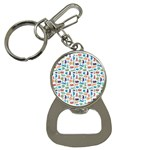 Blue Colorful Cats Silhouettes Pattern Bottle Opener Key Chains