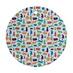 Blue Colorful Cats Silhouettes Pattern Round Ornament (Two Sides)