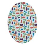 Blue Colorful Cats Silhouettes Pattern Oval Ornament (Two Sides)