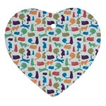 Blue Colorful Cats Silhouettes Pattern Heart Ornament (2 Sides)