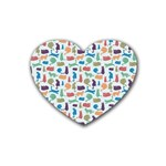 Blue Colorful Cats Silhouettes Pattern Heart Coaster (4 pack)