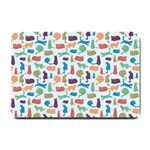 Blue Colorful Cats Silhouettes Pattern Small Doormat