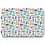 Blue Colorful Cats Silhouettes Pattern Large Doormat