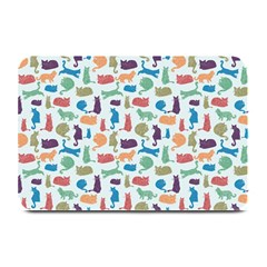 Blue Colorful Cats Silhouettes Pattern Plate Mats from ArtsNow.com 18 x12  Plate Mat