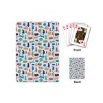 Blue Colorful Cats Silhouettes Pattern Playing Cards (Mini)