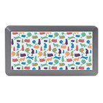 Blue Colorful Cats Silhouettes Pattern Memory Card Reader (Mini)