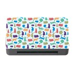 Blue Colorful Cats Silhouettes Pattern Memory Card Reader with CF