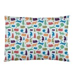 Blue Colorful Cats Silhouettes Pattern Pillow Cases (Two Sides)