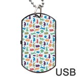 Blue Colorful Cats Silhouettes Pattern Dog Tag USB Flash (One Side)