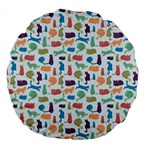Blue Colorful Cats Silhouettes Pattern Large 18  Premium Round Cushions