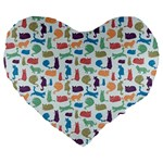 Blue Colorful Cats Silhouettes Pattern Large 19  Premium Heart Shape Cushions