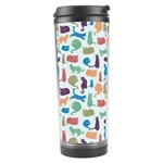 Blue Colorful Cats Silhouettes Pattern Travel Tumblers
