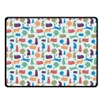 Blue Colorful Cats Silhouettes Pattern Double Sided Fleece Blanket (Small)