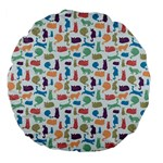 Blue Colorful Cats Silhouettes Pattern Large 18  Premium Flano Round Cushions