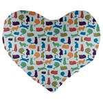 Blue Colorful Cats Silhouettes Pattern Large 19  Premium Flano Heart Shape Cushions