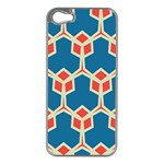 Orange shapes on a blue background			Apple iPhone 5 Case (Silver)