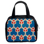 Orange shapes on a blue background Classic Handbag (Two Sides)