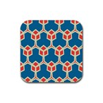 Orange shapes on a blue background			Rubber Square Coaster (4 pack
