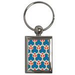Orange shapes on a blue background			Key Chain (Rectangle)