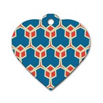 Orange shapes on a blue background			Dog Tag Heart (One Side)
