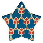 Orange shapes on a blue background			Ornament (Star)