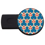 Orange shapes on a blue background			USB Flash Drive Round (2 GB)