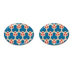 Orange shapes on a blue background			Cufflinks (Oval)
