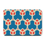 Orange shapes on a blue background			Small Doormat