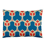 Orange shapes on a blue background			Pillow Case