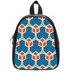 Orange shapes on a blue background			School Bag (Small)