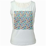Blue Colorful Cats Silhouettes Pattern Women s White Tank Top