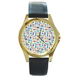 Blue Colorful Cats Silhouettes Pattern Round Gold Metal Watch