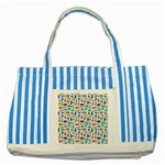 Blue Colorful Cats Silhouettes Pattern Striped Blue Tote Bag