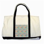 Blue Colorful Cats Silhouettes Pattern Two Tone Tote Bag