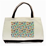 Blue Colorful Cats Silhouettes Pattern Basic Tote Bag (Two Sides)