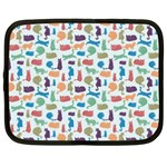 Blue Colorful Cats Silhouettes Pattern Netbook Case (Large)