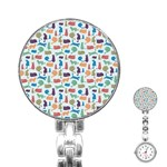 Blue Colorful Cats Silhouettes Pattern Stainless Steel Nurses Watch