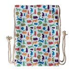 Blue Colorful Cats Silhouettes Pattern Drawstring Bag (Large)