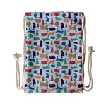Blue Colorful Cats Silhouettes Pattern Drawstring Bag (Small)