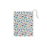 Blue Colorful Cats Silhouettes Pattern Drawstring Pouches (XS)