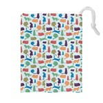 Blue Colorful Cats Silhouettes Pattern Drawstring Pouches (Extra Large)