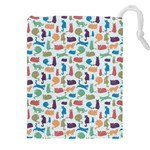 Blue Colorful Cats Silhouettes Pattern Drawstring Pouches (XXL)