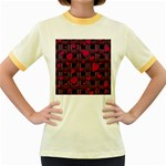 Harts pattern Women s Fitted Ringer T-Shirts
