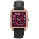 Harts pattern Rose Gold Leather Watch